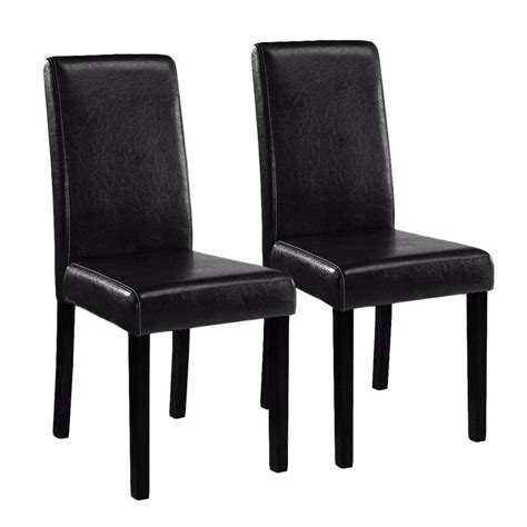Black Leather Dining Room Chairs 2 Black Leather Contemporary Parson Pu Restaurant Dining Chair Home Dining Room Ebay