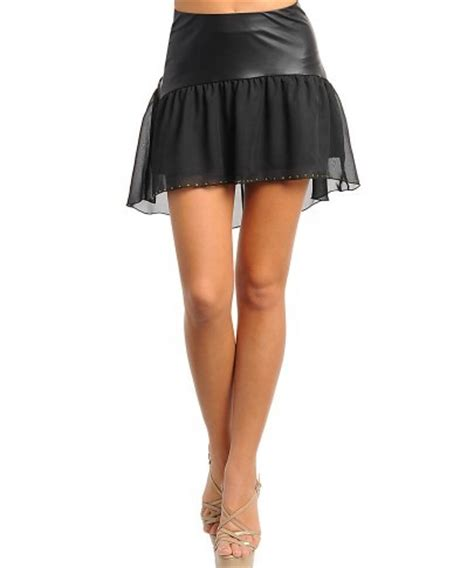 chiffon faux leather high low black skirt on storenvy