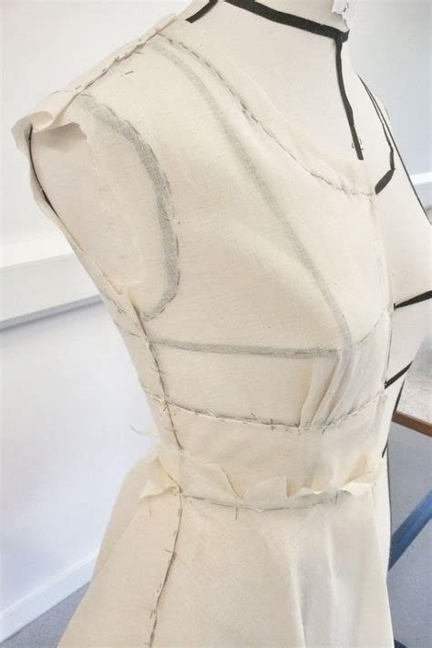 pattern making mannequin draping on the stand dress structure development