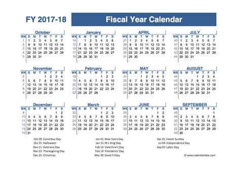 Calendar 2018 Financial Year 2017 2018 Fiscal Planner Us Free Printable Templates