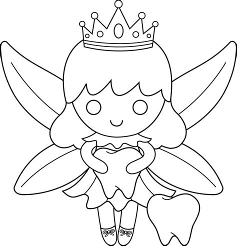 coloring page of tooth fairy cute colorable tooth fairy free clip art