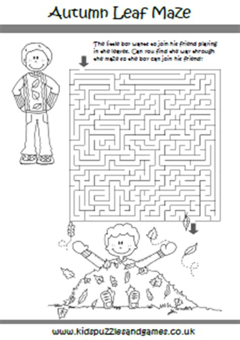 printable autumn maze autumn fall kids puzzles and games