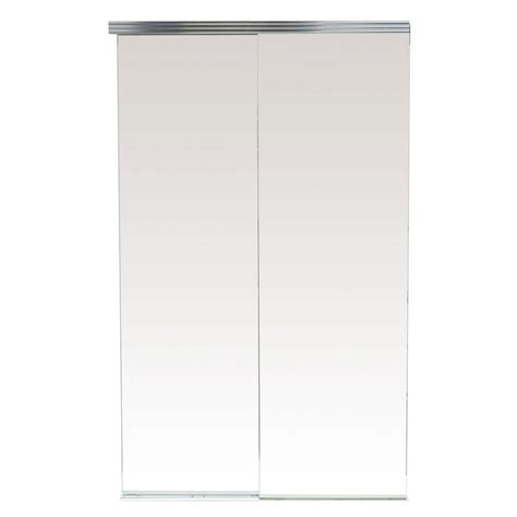 96 Sliding Closet Doors Impact Plus 96 In X 80 In Polished Edge Backed Mirror Aluminum Frame Interior Closet Sliding