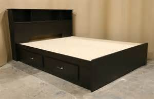 black king size bed frame with drawers and headboard