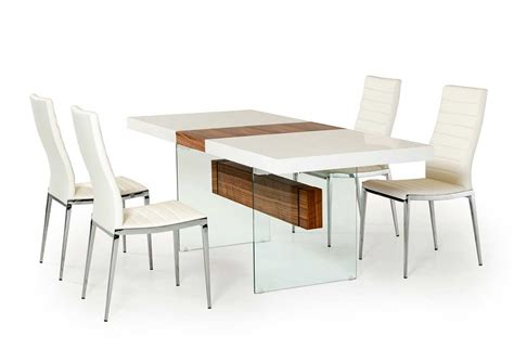 Modern Extending Dining Tables White And Walnut Extendable Dining Table Vg001 Modern Dining