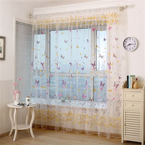 colorful curtains honana colorful butterfly flower voile curtain panel