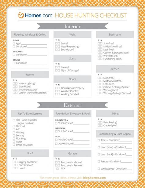 house buying tips printable house hunting checklist meant for buying a home