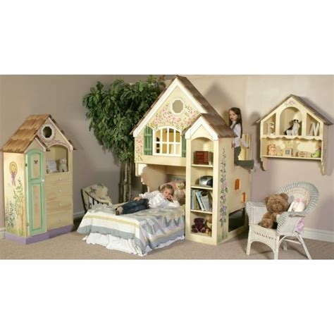 Bedroom Furniture Set dollhouse bunk bed matching set including dresser and wall