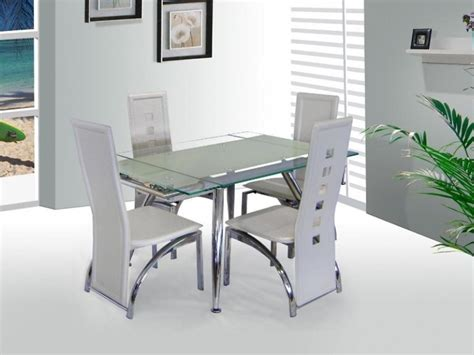 Kitchen Set Mischa micha extenable white glass dining table and 4 chairs