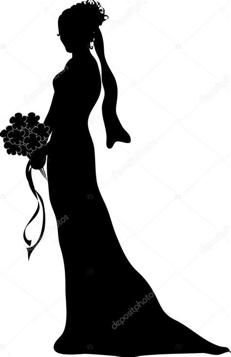 ClipArt Illustration einer silhouetted Braut im Profil ... Free Clipart Bride Silhouette