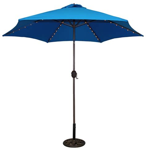 Blue Patio Umbrella 9 Lighted Patio Umbrella