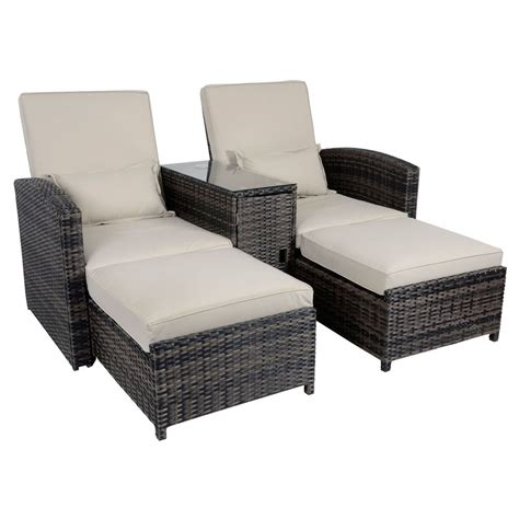 recliner chairs garden antigua rattan wicker reclining sun lounger companion