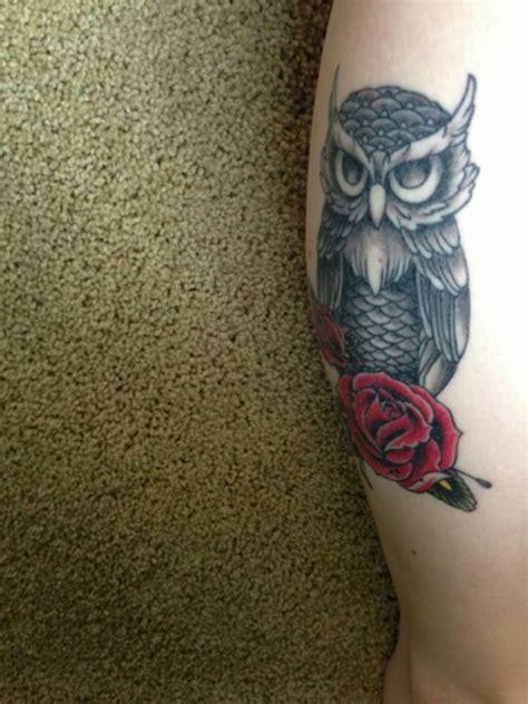 tattoo owl rose owl and roses tattoo tattoos pinterest