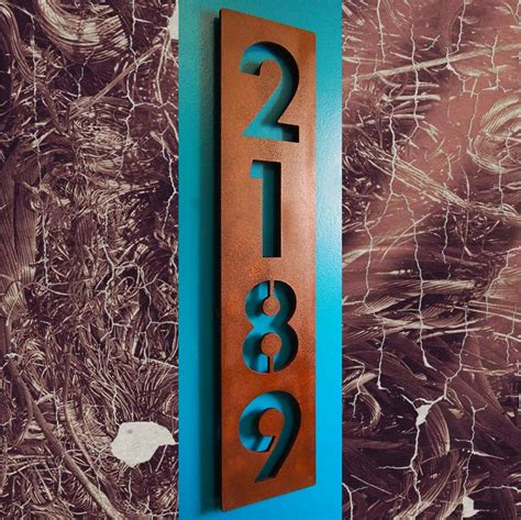 vertical house number signs custom modern floating house numbers vertical in rusted steel
