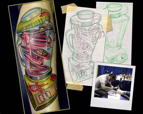 new school tattoo mn snail shake blender tattoo by scotty munster tattoonow