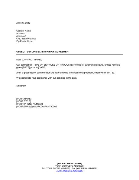 Decline Renewal Letter Decline Extension Of Agreement Template Sle Form