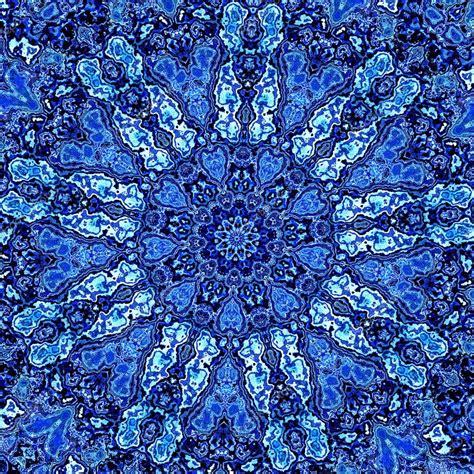 blue mandala pattern beautiful detailed blue mandala fractal abstract