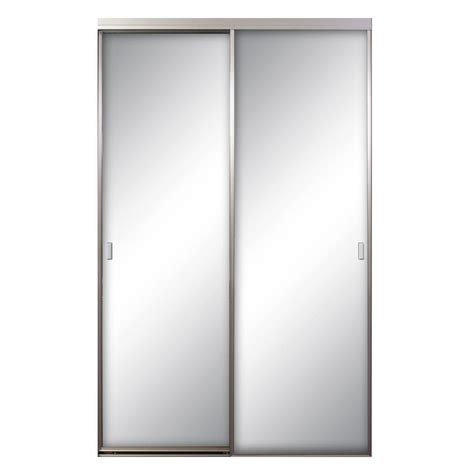 Aluminum Closet Doors Contractors Wardrobe Asprey 72 In X 81 In Mirror Brushed Nickel Aluminum Interior Sliding Door