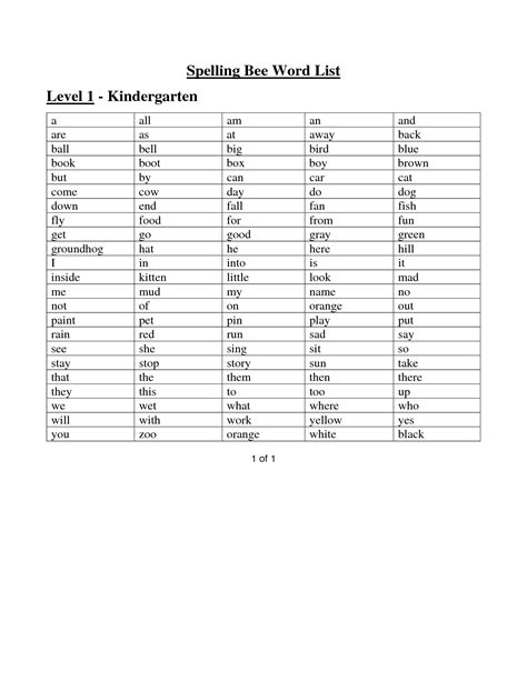 spelling bee sight words for kindergarten sight words worksheets spelling bee word list level 1 kindergarten gifted