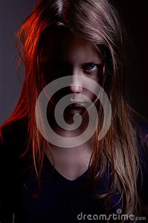 closeup portrait   scary  demon girl stock images