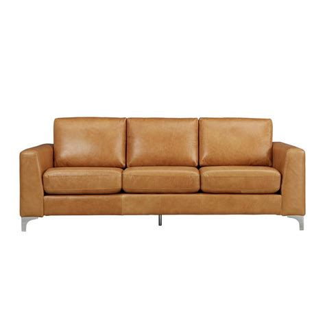 caramel leather sofa homesullivan russel 1 piece caramel leather sofa 40e938cm