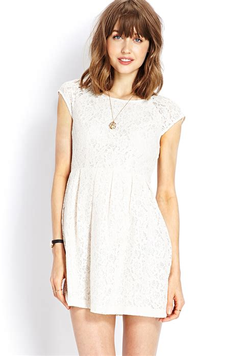 Forever21 Lace Dress forever 21 ladylike lace dress in beige lyst