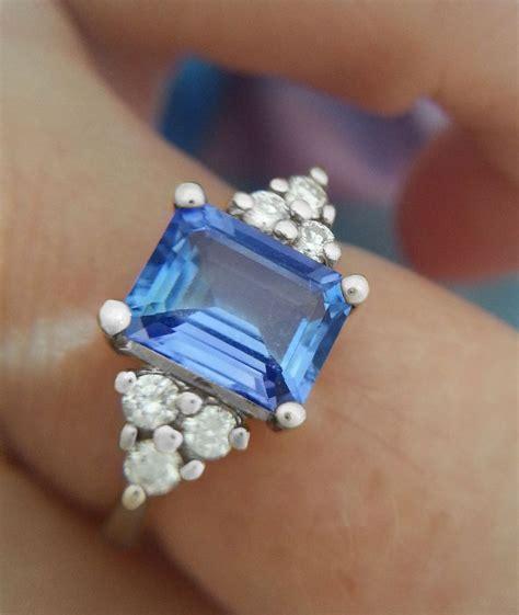 light blue sapphire engagement rings light blue emerald cut sapphire engagement ring beautiful