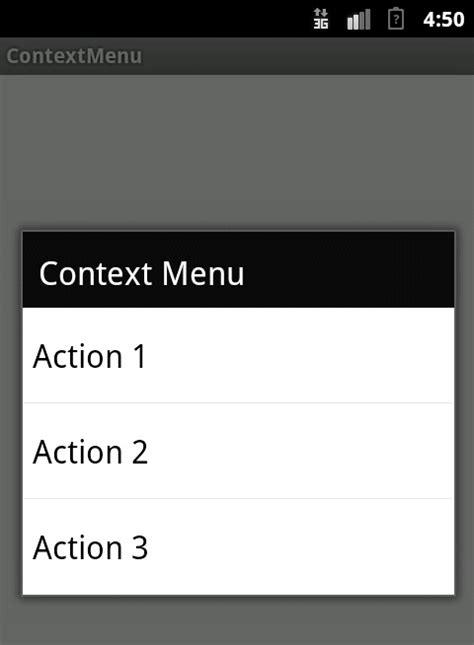 context android context menu in android with exle compiletimeerror