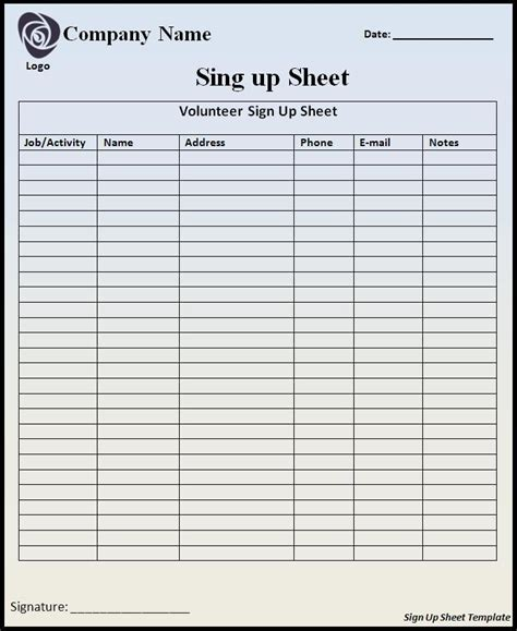 sheet template word sign up sheet template word templates
