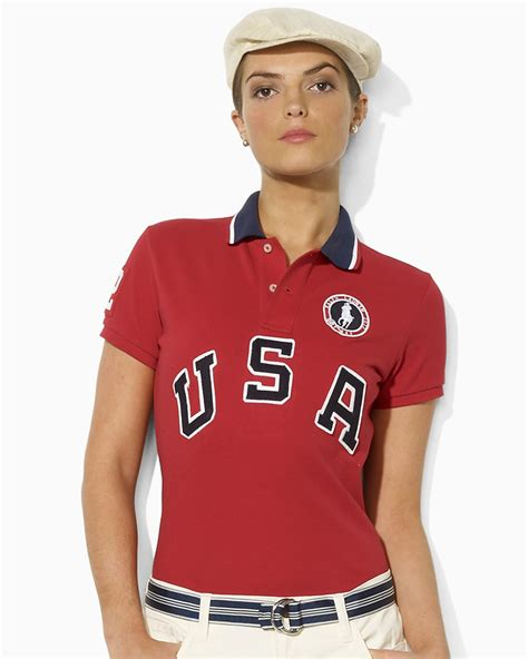 Ralph Olympic Collection For Usa Olympics Team by Ralph Team Usa Olympic Collection Mesh Polo Shirt