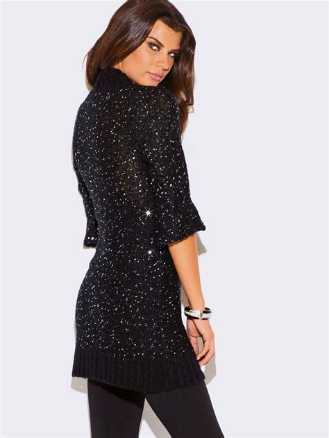 Sweater Dresses by Black Sequined Sweater Dress Modishonline