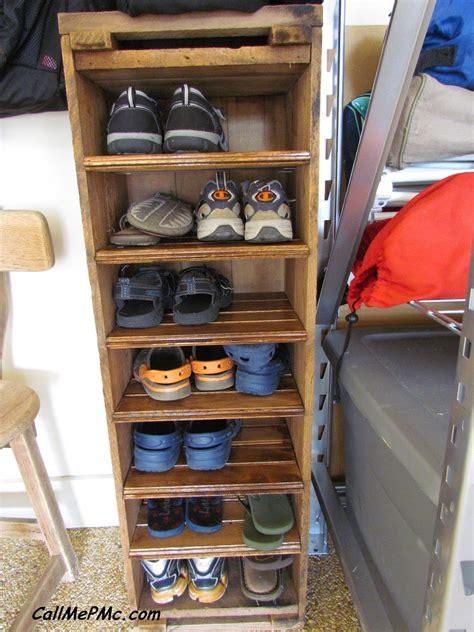 diy shoe rack  scrap wood turn shoes sideways