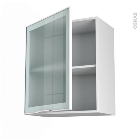 meuble de cuisine haut ouvrant vitr 233 fa 231 ade blanche alu 1 porte l60 x h70 x p37 cm sokleo oskab