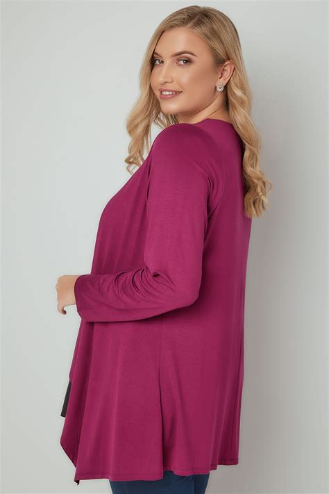 Sweater Casual Fashion Pria Model Purple Indigo Bottom Black List 694 magenta pink edge to edge waterfall jersey cardigan plus