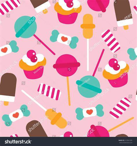 forgot pattern on android lollipop seamless candy lollipop ice cream cupcake stock vector