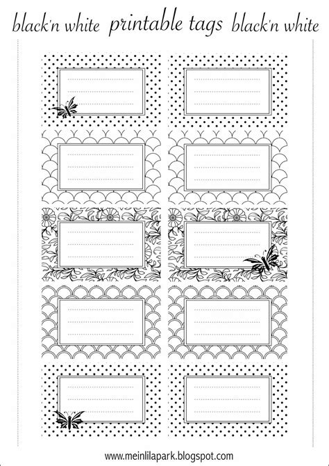 label templates for books free printable tags blackandwhite for name plates
