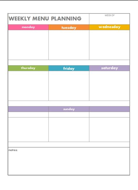 blank meal planner templates blank weekly menu world of printable and chart