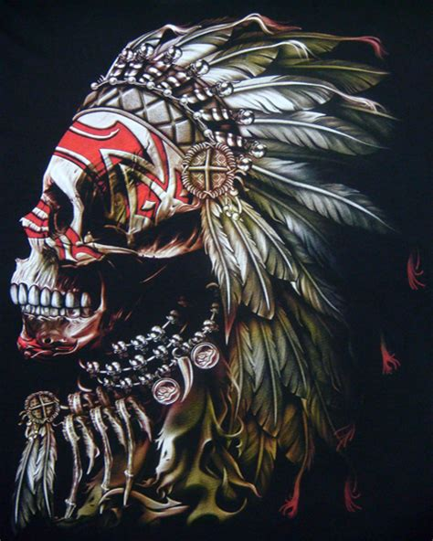 indian chief skull tattoo american indian chief t shirt skull mens t shirts