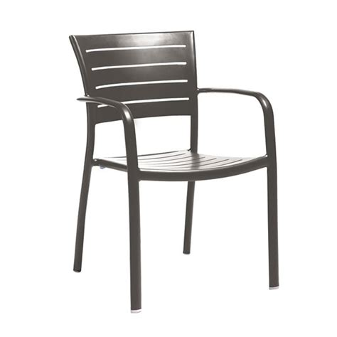 Aluminium Dining Chairs Esso Aluminum Slat Dining Chair With Powder Coated Aluminum Frame By Tropitone Furniture Leisure