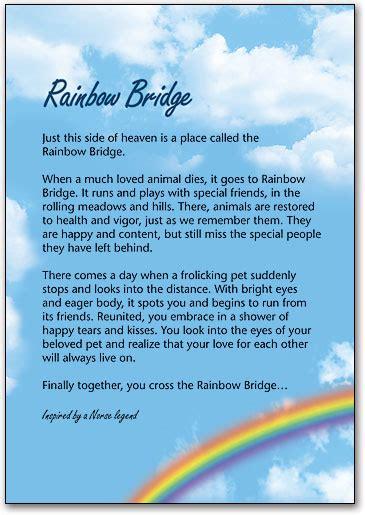 printable version of the rainbow bridge poem rainbow bridge sympathy cards smartpractice veterinary