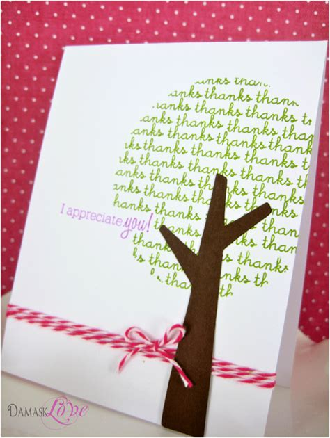 thank you tree card damask