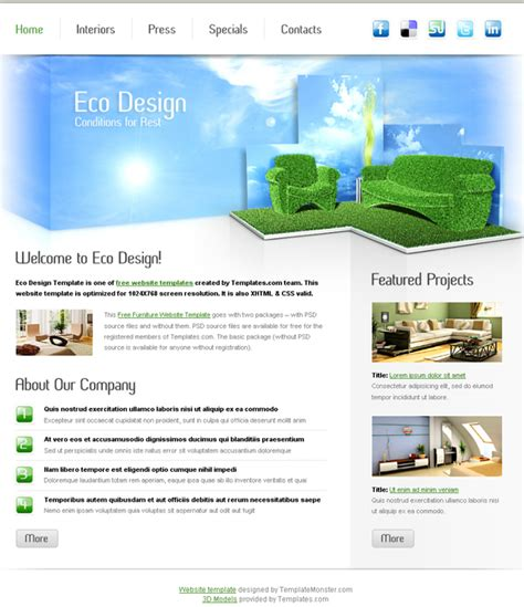 free homepage template 16 best furniture interior design html web templates