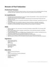 Resume Professional Summary Professional Summary For Resume Exles Sles Of Resumes