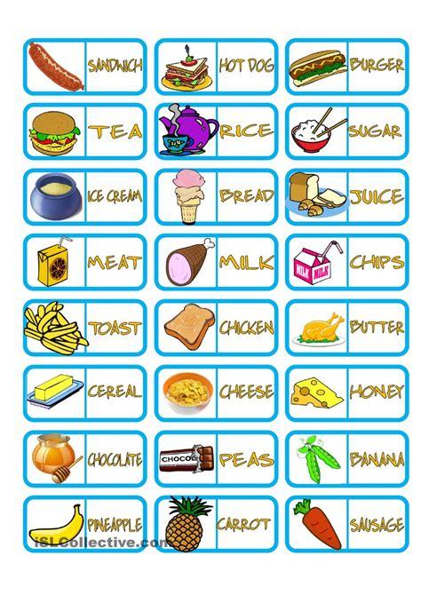 domino cuisine food domino ingles juegos ingleses fichas