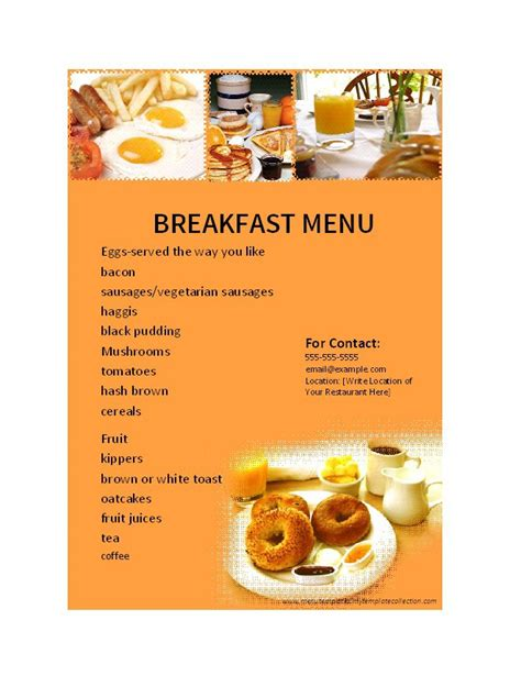 30 Restaurant Menu Templates Designs Template Lab Free Printable Breakfast Menu Templates