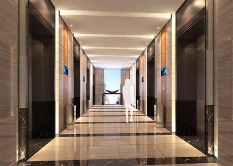 minimalistic hotel elevator hall design 3d rendering office building elevator corridor design rendering