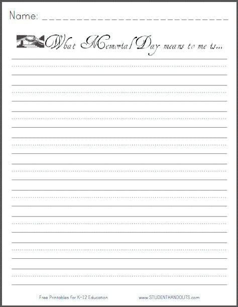 Memorial Day Writing Prompt Free Printable Student Handouts Memorial Paper Template