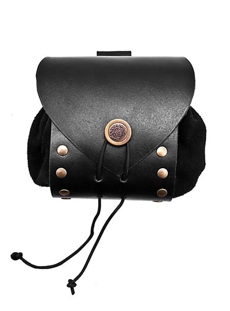 riveted leather belt pouch black