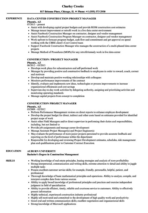 Project Manager Resume by Construction Project Manager Resume Sles Velvet