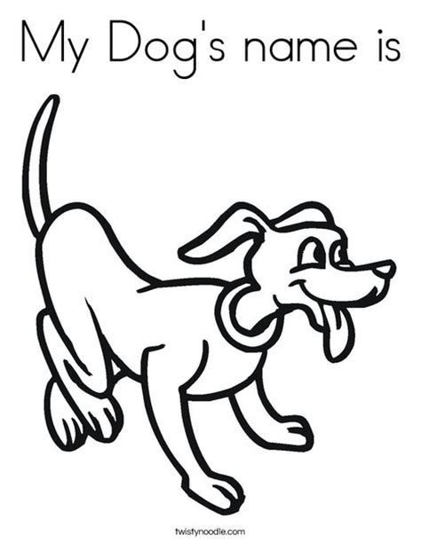 coloring pages my name is my dog s name is coloring page twisty noodle